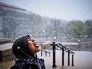 01 MAY 2017 - ST. PAUL, MN: A child who participated in an immigrants' rights march at the Minnesota State Capitol tries to catch snowflakes on his tongue after the march. There was an unusual May snowstorm in St Paul after the march. About 300 people, representing immigrants' and workers' rights organizations, marched through the Minnesota State Capitol during a demonstration to mark May Day, International Workers' Day.      PHOTO BY JACK KURTZ