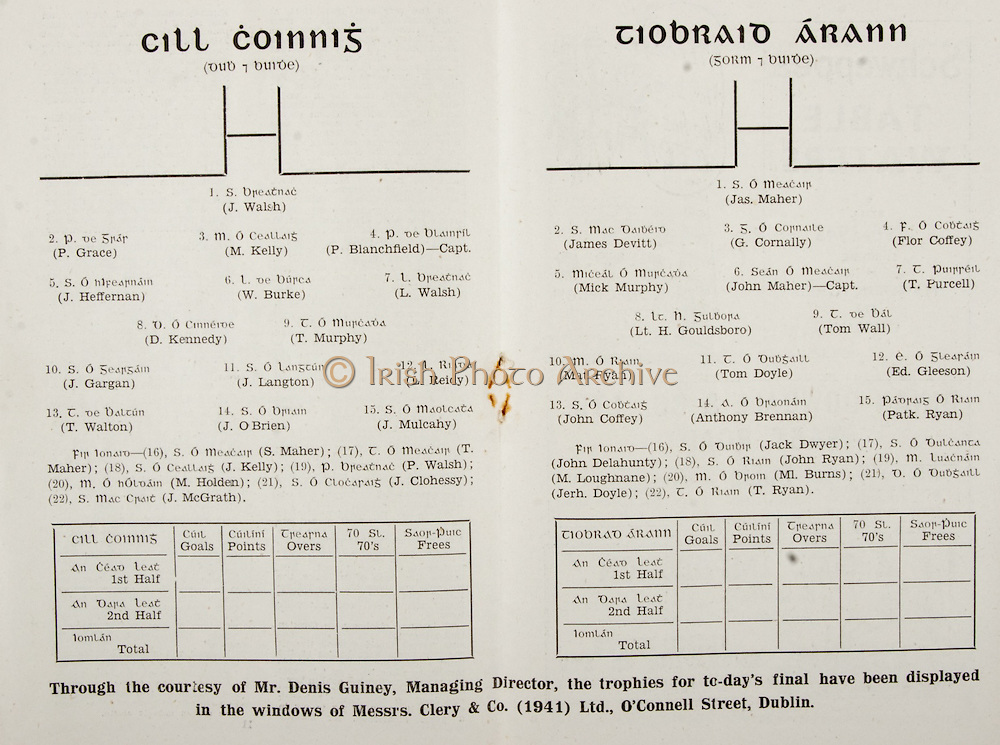 All Ireland Senior Hurling Championship Final,.Brochures,.02.09.1945, 09.02.1945, 2nd September 1945,.Tipperary 5-6, Kilkenny 3-6, .Minor Dublin v Tipperary, .Senior Tipperary v Kilkenny, .Croke Park, ..Killkenny Senior Team, J Walsh, Goalkeeper, P Grace, Right corner-back, M Kelly, Full-back, P Blanchfield, Captain, Left corner-back, J Heffernan, Right half-back, W Burke, Centre half-back, L Walsh, Left half-back, D Kennedy, Midfielder, T Murphy, Midfielder, J Gargan, Right half-forward, J Langton, Centre half-forward, L Reidy, Left half-forward, T Walton, Right corner-forward, J O'Brien, Centre forward, J Mulcahy, Left corner-forward, Substitutes, S Maher, T Maher, J Kelly, P Walsh, M Holden, J Clohessy, J McGrath, ..Tipperary Senior Team, Jas Maher, Goalkeeper, James Devitt, Right corner-back, G Cornally, Full-back, Flor Coffey, Left corner-back, Mick Murphy, Right half-back, John Maher, Captain, Centre half-back, T Purcell, Left half-back, Lt. H Gouldsboro, Midfielder, Tom Wall, Midfielder, Mat Ryan, Right half-forward, Tom Doyle, Centre half-forward, Ed Gleeson, Left half-forward, John Coffey, Right corner-forward, Anthony Brennan, Centre forward, Pat. Ryan, Left corner-forward, Substitutes, Jack Dwyer, John Delahunty, John Ryan, M Loughnane, Ml Burns, Jerh Doyle, T Ryan,