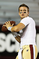 October 2, 2010; Chestnut Hill, MA, USA;  Boston College Eagles quarterback Chase Rettig (7) warms up before the game against the Notre Dame Fighting Irish at the Alumni Stadium.  Notre Dame defeated Boston College 31-13.