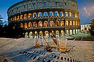 Roma 12 Maggio 2012<br /> Bicchieri di birra lasciati davanti al Colosseo dopo una notte di movida<br /> Rome May 12, 2012.<br /> Beer glasses  in front of the Colosseum after a night of nightlife