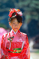 7 year old girl (Seven-five-three festival) wearing kimono, Kitano-tenmangu Shrine, Kyoto, Japan
