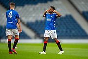 Adedapo Awokya-Mebude (#) of Rangers FC gesticulates to the crowd after scoring a goal during the Scottish FA Youth Cup Final match between Celtic and Rangers at Hampden Park, Glasgow, United Kingdom on 25 April 2019.