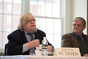 Thomas Suddes opens up the 1pm forum during the 2018 Baker Peace Conference forum, The Populism, The Press, and The Election of 2016.