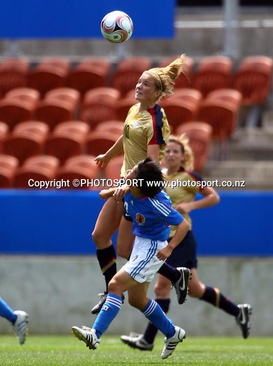 Kristie Mewis (USA) gets to the ball ahed of Mana Iwabuchi (JAP).<br />FIFA U-17 Women's World Cup, Japan v USA, Waikato Stadium, Albany, New Zealand, Thursday 30 October 2008. Photo: Renee McKay/PHOTOSPORT