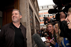 © under license to London News Pictures. 25/06/12..Chris Moyles, the self-proclaimed 'saviour of Radio1' leaves the station after hosting his final breakfast show. Moyles has been at the helm of the flagship show since 2004 and signed a new contract in 2011. He announced his decision to quit live on air in July...ALEX CHRISTOFIDES/LNP