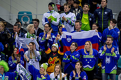 GANGNEUNG, SOUTH KOREA - FEBRUARY 16: Supporters of Slovenia during Ice Hockey match between Slovenia and Olympic Athletes from Russia in the Men's Ice Hockey Preliminary Round Group B at Gangneung Hockey Centre on February 16, 2018 in Gangneung, South Korea. Photo by Ronald Hoogendoorn / Sportida