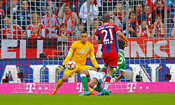 MUNICH, GERMANY - OCTOBER 18: Philipp Lahm of Bayern Munich scores a goal  during the Bundesliga match between Bayern Munich and Werder Bremen. October 18, 2014 in Munich, Germany. Photo mandatory by-line: Mitchell Gunn