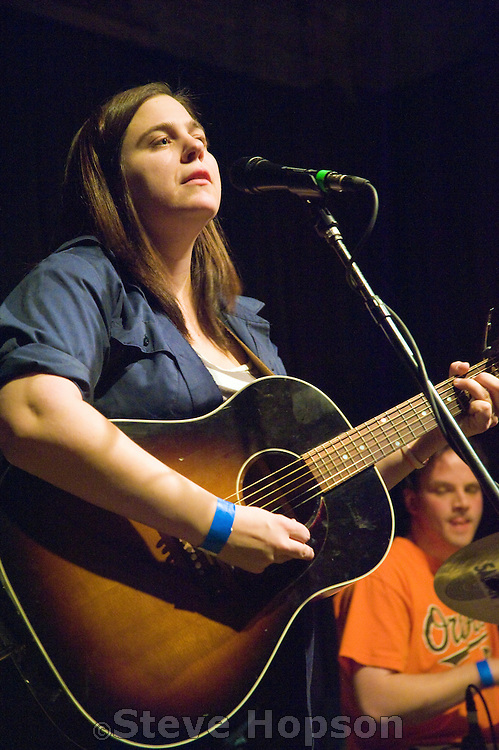 Jennifer O'Connor performing at Stubb's BBQ, Austin, Texas, January 20, 2009. Jennifer O'Connor is a New York indie, folk-rocker, confessional singer-songwriter with a world-weary voice.