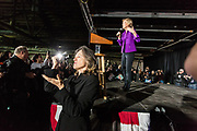 Long Island City, NY – 8 March 2019. Massachusetts Senator and Democratic Presidential candidate Elizabeth Warren drew an enthusiastic crowd at an organizing rally for her 2020 presidential campaign in Long Island City. A sign language enterpreter translating Warren's speech.