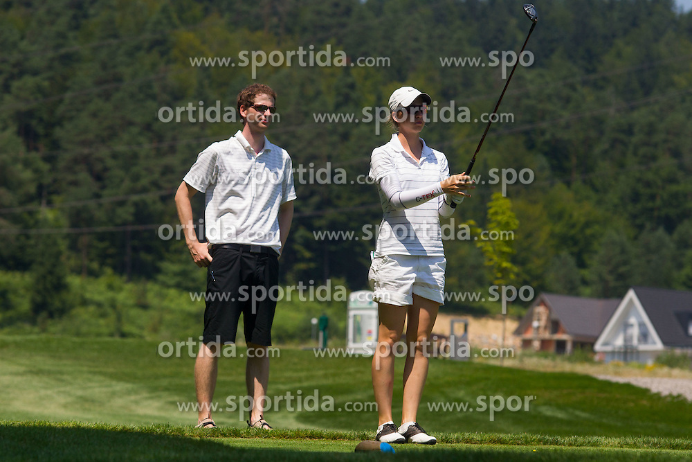 Katja Pogacar and her caddy of Slovenia during golf competition in day 3 of International European Ladies Amateur Championship 2012, on July 27, 2012 in Smlednik at Ljubljana, Slovenia. (Photo by Grega Valancic / Sportida)