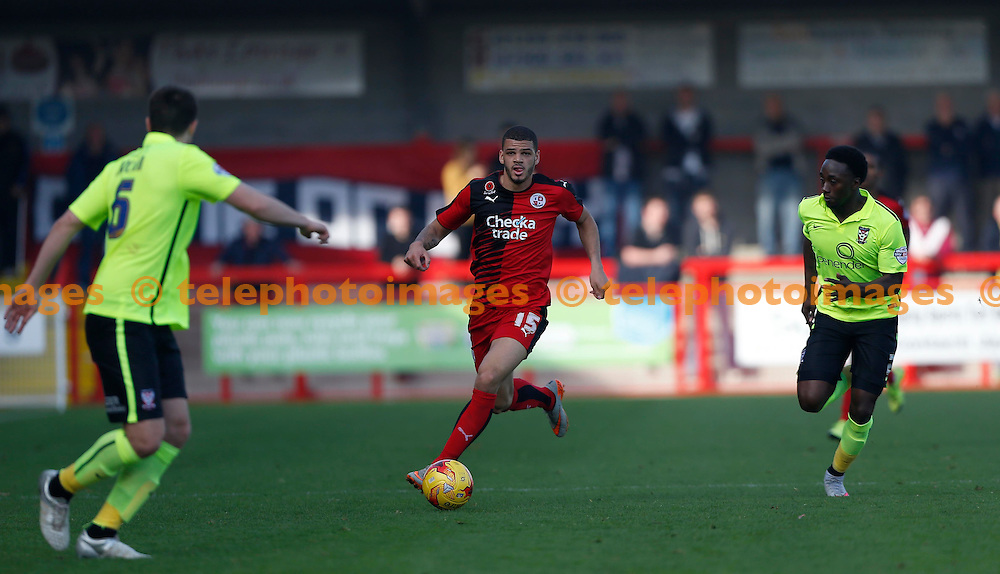 Crawley&rsquo;s Shamir Fenelon on the ball during the Sky Bet League 2 match between Crawley Town and York City at the Checkatrade.com Stadium in Crawley. October 31, 2015.<br /> James Boardman / Telephoto Images<br /> +44 7967 642437
