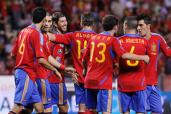 06.09.2011, Logrono, ESP, UEFA EURO 2012, Qualifikation, Spanien vs Lichtenstein, im Bild Spain's Sergio Busquets, Juan Manuel Mata, Sergio Ramos, Xabi Alonso, Juan Manuel Mata, Andres Iniesta and David Villa celebrate goal during Euro 2012 qualifier match.September 6,2011.. EXPA Pictures © 2011, PhotoCredit: EXPA/ Alterphoto/ Acero +++++ ATTENTION - OUT OF SPAIN/(ESP) +++++