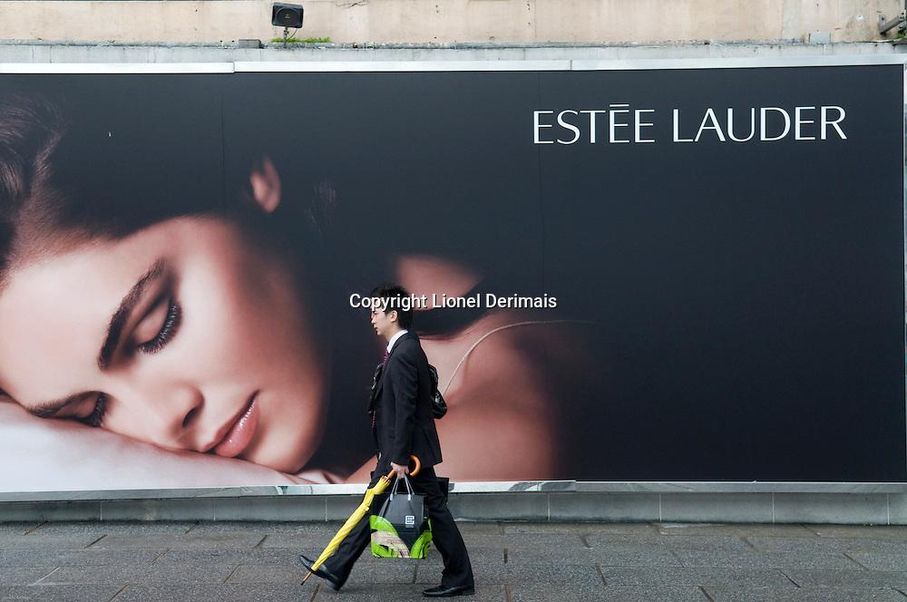 Estee Lauder advertising poster on Kowloon, Hong Kong, 2009.