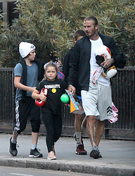 EXCLUSIVE: *NO WEB UNTIL 1PM BST 3RD SEPT* David Beckham takes his Children to the Boxing Gym. David took Harper, Romeo and Cruz to his West London Boxing Gym for a work out. All the Children left clutching Boxing Glove's and Harper carried a Water Blaster. 01 Sep 2017 Pictured: David Beckham, Romeo Beckham, Cruz Beckham, Harper Beckham. Photo credit: MEGA TheMegaAgency.com +1 888 505 6342