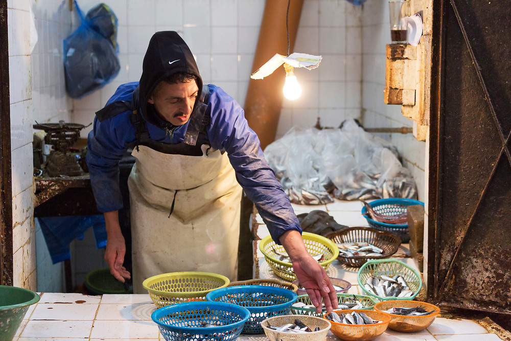 Fez, Morocco - 3rd FEBRUARY 2018 - Fishmonger market stall in the old Fez Medina, Middle Atlas Mountains, Morocco.