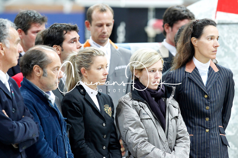 Organizers and riders together for farewell for Hickstead after he died after his round in de World Cup qualifier.<br /> CSI-W Verona 2011<br /> &copy; Hippo Foto - Stefano Grasso