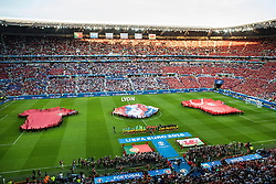 LYON, FRANCE - Wednesday, July 6, 2016: The Wales and Portugal teams line up ahead of the UEFA Euro 2016 Championship Semi-Final match at the Stade de Lyon. (Pic by Paul Greenwood/Propaganda)