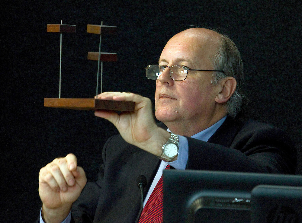 Dr Richard Sharpe, structural engineer, BECA, uses a model to explain how different buildings behave during an earthquake while giving evidence at the Canterbury Earthquakes Royal Commission, Christchurch, New Zealand, Monday, December 05, 2011. Credit:SNPA / The Press, John Kirk-Anderson  **POOL**