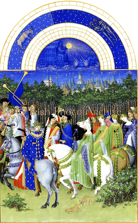 'The Très Riches Heures du Duc de Berry Is a French Gothic illuminated manuscript. The Très Riches Heures is a prayer book created for John, Duke of Berry, by the Limbourg brothers between 1412 and 1416. The book was completed by Jean Colombe between 1485 and 1489. The manuscript is held at the Musée Condé, Chantilly, France. this folio (May)shows a May 1st cavalcade going into the forest to look for branches. It could be the Palais de la Cité in Paris Châtelet left the Conciergerie and the Clock Tower.'