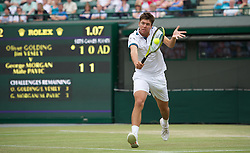 LONDON, ENGLAND - Sunday, July 3, 2011: Oliver Golding (GBR) in action during the Boys' Doubles Final match on day thirteen of the Wimbledon Lawn Tennis Championships at the All England Lawn Tennis and Croquet Club. (Pic by David Rawcliffe/Propaganda)
