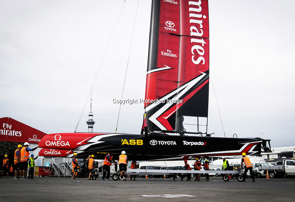 Emirates Team New Zealand AC45 test & development boat at their base in Auckland.