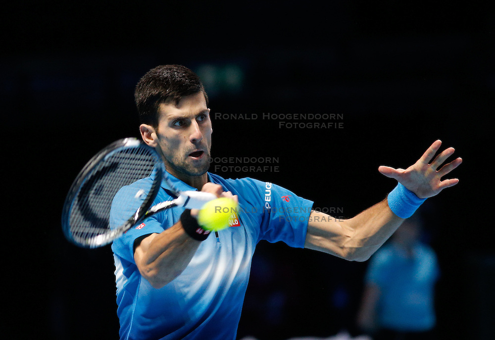 21-11-2015 GBR: ATP Tennis Tour Finals day 7, London<br /> Novak Djokovic (SRB) defeats Rafael Nadal (ESP) in semi-finals match by a score of 6-3, 6-3 during Day Seven Barclays ATP World Tour Finals from the O2 Arena<br /> <br /> ***NETHERLANDS ONLY***