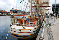 Tall Ships Atlantic Challenge, Belfast Maritime Festival. Netherlands registered Europa, a steel-hulled 3-masted barque, moored in Belfast, N Ireland, UK, after its Atlantic crossing. 200908132940.<br />