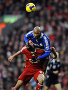 Nicolas Anelka tangles with Jamie Carragher during the Barclays Premier League match between Liverpool and Chelsea at Anfield on February 1, 2009 in Liverpool, England.