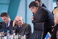 13 JAN 2016, BERLIN/GERMANY:<br /> Wolfgang Schaeuble (L), CDU, Bundesfinanzminister, und Sigmar Gabriel (R), SPD, Bundeswirtschaftsminister, im Gespraech, vor Beginn einer Kabinettsitzung, Budneskanzleramt<br /> IMAGE: 20160113-01-017<br /> KEYWORDS: Kabinett, Sitzung, Wolfgang Schäuble, Gespräch