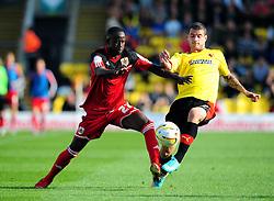 Bristol City's Albert Adomah battles for the ball with Watford's Daniel Pudil - Photo mandatory by-line: Joe Meredith/JMP  - Tel: Mobile:07966 386802 22/09/2012 - Watford v Bristol City - SPORT - FOOTBALL - Championship -  Watford  - Vicarage Road Stadium