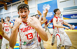 Bas Goktug of Turkey  celebrates after winning during basketball match between National teams of Turkey and Slovenia in the SemiFinal of FIBA U18 European Championship 2019, on August 3, 2019 in Nea Ionia Hall, Volos, Greece. Photo by Vid Ponikvar / Sportida