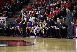 17 February 2018:  Randy Heimerman stands near the UNI bench and Ben Jacobson during a College mens basketball game between the University of Northern Iowa Panthers and Illinois State Redbirds in Redbird Arena, Normal IL