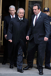 Bernard Madoff leaves the US Federal Court after a hearing in New York City, NY, USA  on March 10, 2009. The disgraced Wall Street financier has agreed to plead guilty to 11 counts of fraud, his lawyer said in court. Photo by Dennis Van Tine/ABACAPRESS.COM  | 180764_016