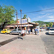 Stores and buildings in downtown Zihuatanejo, Mexico
