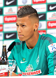 02.08.2014, Weserstadion, Bremen, GER, 1. FBL, SV Werder Bremen, Pressekonferenz, im Bild Davie Selke (SV Werder Bremen II #11) // during a Pressconference of German Bundesliga Club SV Werder Bremen at the Weserstadion in Bremen, Germany on 2014/08/02. EXPA Pictures © 2014, PhotoCredit: EXPA/ Andreas Gumz<br /> <br /> *****ATTENTION - OUT of GER*****
