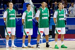 Players of Slovenia Edo Muric, Goran Dragic, Goran Jagodnik and Zoran Dragic  listening to the national anthem during basketball match between National teams of Slovenia and Bulgaria in Group D of Preliminary Round of Eurobasket Lithuania 2011, on August 31, 2011, in Arena Svyturio, Klaipeda, Lithuania.   Slovenia defeated Bulgaria 67 - 59. (Photo by Vid Ponikvar / Sportida)