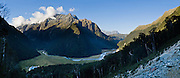 Sunset on Routeburn Flats, Routeburn Track, in Mount Aspiring National Park, Southern Alps, South Island, New Zealand. In 1990, UNESCO honored Te Wahipounamu - South West New Zealand as a World Heritage Area. Panorama stitched from 3 overlapping photos.