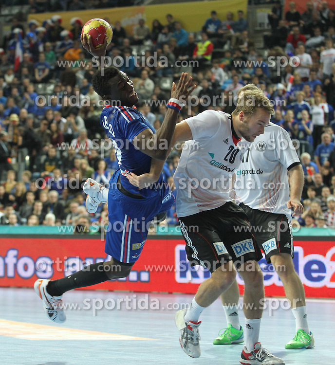 18.01.2013 Barcelona, Spain. IHF men's world championship, prelimanary round. Picture show Luc Abalo    in action during game between France vs Germany at Palau St Jordi / Sportida Photo Agency