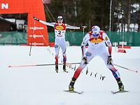 Kombinert<br /> FIS World Cup<br /> 16.01.2015<br /> Foto: Gepa/Digitalsport<br /> NORWAY ONLY<br /> <br /> SEEFELD - ØSTERRIKE<br /> <br /> FIS World Cup, Nordic Triple, Gundersen 5km prologue, men. Image shows the rejoicing of Jarl Magnus Riiber (NOR).