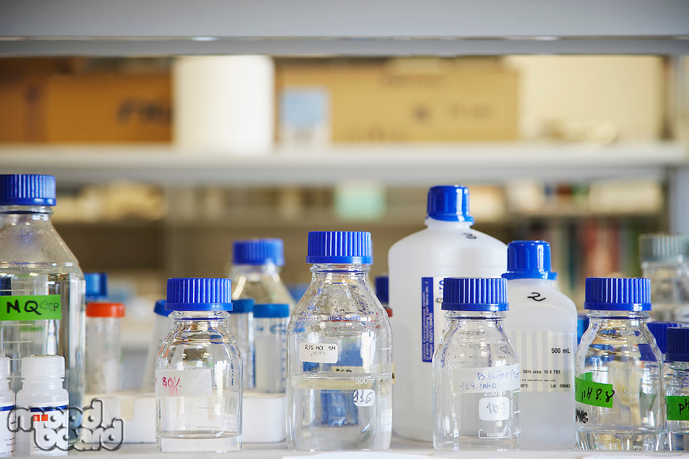 Bottles of chemicals in laboratory