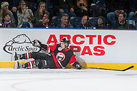 KELOWNA, CANADA - NOVEMBER 9: Mathew Barzal #13 of Team WHL slides into the boards against the Team Russia on November 9, 2015 during game 1 of the Canada Russia Super Series at Prospera Place in Kelowna, British Columbia, Canada.  (Photo by Marissa Baecker/Western Hockey League)  *** Local Caption *** Mathew Barzal;
