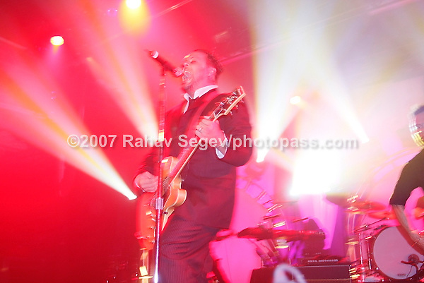 Blue October performing at The Nokia Theater in Times Square on September 26, 2007..Justin Furstenfeld -lead vocals, guitar.Ryan Delahoussaye -violin, mandolin, piano, vocals.Jeremy Furstenfeld -drums.C.B. Hudson -lead guitar, vocals.Matt Noveskey -bass, vocals