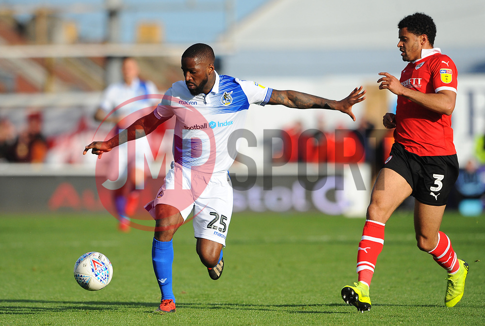 Abu Ogogo of Bristol Rovers competes with Ezekiel Fryers of Barnsley - Mandatory by-line: Nizaam Jones/JMP - 04/05/2019 - FOOTBALL - Memorial Stadium - Bristol, England - Bristol Rovers v Barnsley - Sky Bet League One
