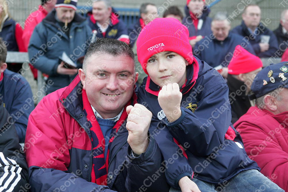 21/1/2006<br /> Michael and Sean Hanley (9) from Shannon, Co. Clare pictured at the Munster V Sale game in Thomond Park, Limerick on Saturday.<br /> Pixcture: Liam Burke/Press 22