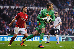 Derby Goalkeeper Adam Legzdins (ENG) in action during the first half of the match - Photo mandatory by-line: Rogan Thomson/JMP - Tel: Mobile: 07966 386802 19/01/2013 - SPORT - FOOTBALL - Pride Park - Derby. Derby County v Nottingham Forest - npower Championship. The meeting of these two local sides is known as the East Midlands Derby with the winner claiming the Brian Clough Trophy.