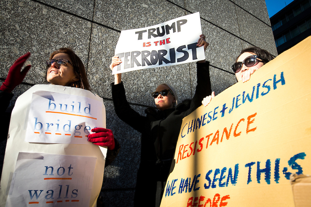 TOKYO, JAPAN - JANUARY 31 : Foreign residents of Tokyo gather with placards to protest against the U.S President Donald Trump's immigration ban and security agendas near US embassy in Tokyo, Japan on Tuesday, January 31, 2017. U.S. President Trump issued a executive order banning seven Muslim nations, Iraq, Syria, Iran, Sudan, Libya, Somalia or Yemen from entering the United States. (Photo by Richard Atrero de Guzman/NUR Photo)