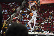 Houston, Texas - March 10, 2017: Jalan McCloud finishes a dunk during a game against Grambling State at the Toyota Center in Houston. The Texas Southern Tigers beat the Grambling State Tigers in the semifinals of the SWAC Tournament. (Michael Starghill, Jr. for The Undefeated)