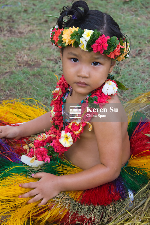 Little Yapese girl in traditional clothing at Yap Day Festival, Yap Island, Federated States of Micronesia