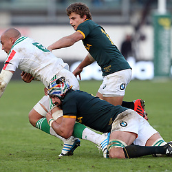 PADUA, ITALY - NOVEMBER 22: Victor Matfield of South Africa tackling Sergio Parisse (captain) of Italy during the Castle Lager Outgoing Tour match between Italy and South African at Stadio Euganeo on November 22, 2014 in Padua, Italy. (Photo by Steve Haag/Gallo Images)