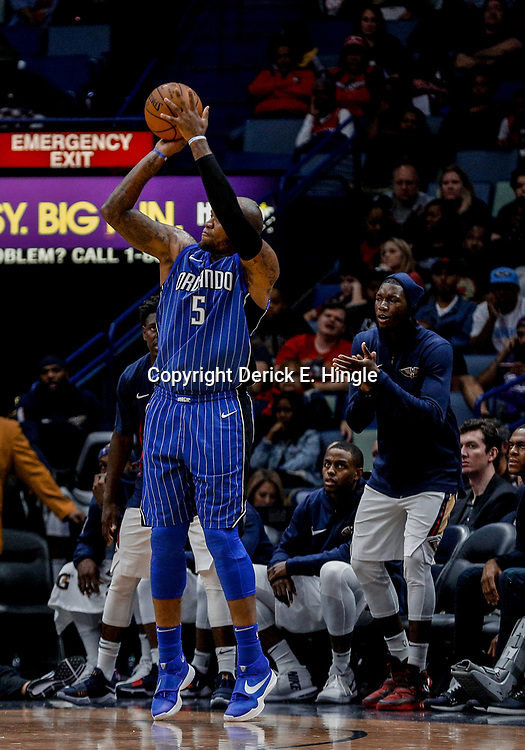 Oct 30, 2017; New Orleans, LA, USA; Orlando Magic forward Marreese Speights (5) shoots against the New Orleans Pelicans during the second half of a game at the Smoothie King Center. Mandatory Credit: Derick E. Hingle-USA TODAY Sports